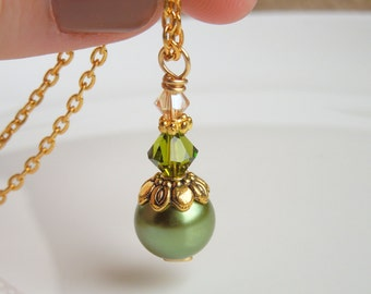 Green Dangle Pearl and Champagne Crystal Drop Necklace in Gold - Olive Green, Antique Brass and Taupe - Matching Earrings Available