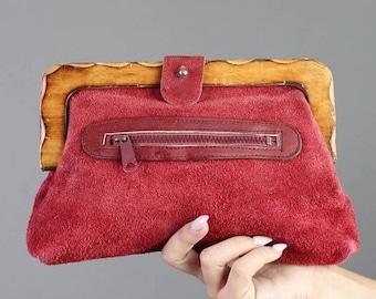SALE SALE SALE vintage Maroon + Suede leather Wood wooden clutch top handle hand bag hippie boho 80s 1980s