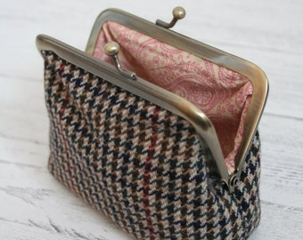 Tweed clasp purse with paisley lining