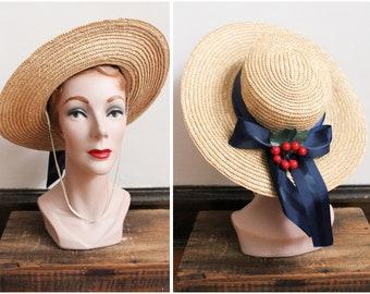 1950s Hat // Cherry Pickin' Straw Hat // vintage 50s hat