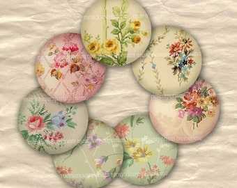 Floral Circles 1 One Inch Old Vintage Wallpaper Flowers Pastels Retro Patterns Scrapbooking Decoupage Rounds Digital Collage Sheet wp 444