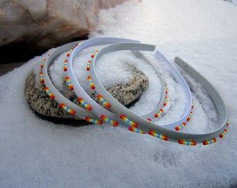 Light Grey Sunset Satin Seed Beaded Headband