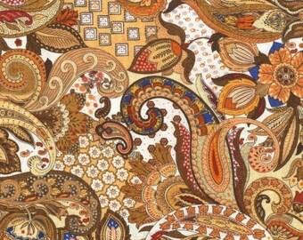printed patchwork cashmere beige tone fabric