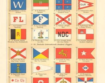 1895 International Maritime Signal Flags, House Flags of Shipping Companies Original Antique Lithograph