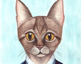 Funny cat print , cat art , cat lover gift , cat wall art , cat nursery decor , cat nursery art , cat illustration , cat poster ,