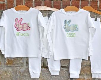 Gingham Bunny Monogram Pajamas - Personalized Easter Pajamas - Monogram Easter Pajamas - JULIANNE ORIGINALS