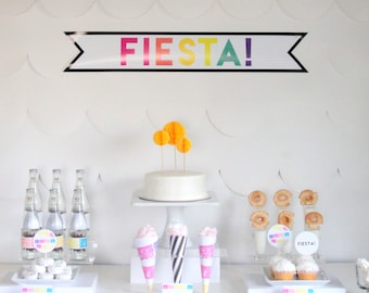 PRINTABLE modern Mexican fiesta party decor, labels and signs- essential party kit by kojodesigns