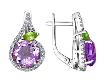 925 Multi-Stone Silver Earrings Special Occasion Amethyst Cubic Zirconia Chrysolite Jewelry For Women