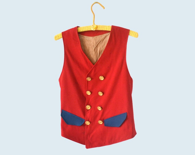 1910s Red Wool Vest size S