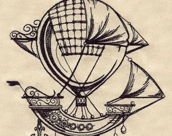 Embroidered Flour Sack Towel - Steampunk Hot Air Balloon Embroidery Design