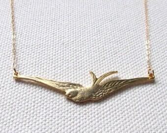 Gold Bird Necklace, Soaring Flying Swallow, Modern Bird Pendant 14K Gold Fill Chain