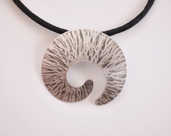 silver nautilus pendant, love spirals, unique hand made necklace, forged hammer finish, jewelry for guys and gals, for men and women, unisex