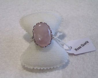 "ring ""tenderness"" rose quartz cabochon"