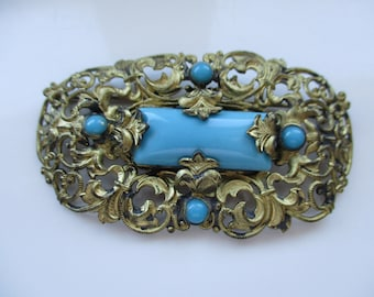Very Large, ANTIQUE, Art Nouveau, CZECH Glass, Rococo Style Filligree, BROOCH, circa late 1910s