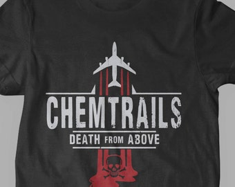 New Chemtrails Airplane Illuminati Conspiracy Theory New World Order Fine Cotton Jersey Mens and Ladies Womens T-Shirt Unisex Adult Sizes