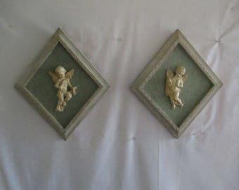 Angel Cherub Framed Wall Hangings set of 2