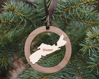 Personalized Home Christmas Ornament ANY STATE, COUNTRY or Island Baby's First Christmas, Our First Home, Wedding Gift, Destination Wedding