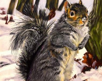 Art Print of Grey Squirrel, 8x10 or 11x14 Print from Vermont Made Pastel Painting