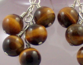 Shimmery Tiger Eye Cluster Earrings