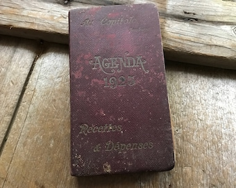 1925 French Leather Journal, Receipts Expenses Book, Leather Bound French Agenda Journal 1925, Au Capitole, Toulouse