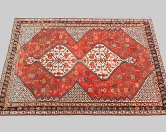 Handknotted Woollen Persian Antique Qashqai Rug 225x153cm
