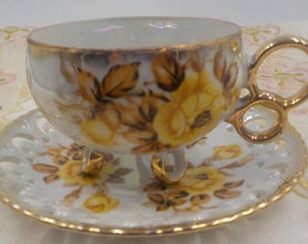 Vintage - Royal Sealy - Tea Cup and Saucer - Ornate - Hand Painted - Yellow Roses - Unique - Footed  - Gold Gilding - Made in Japan