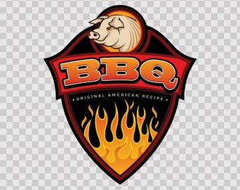 Decal Sticker Bbq Barbeque Original American Recipe Pig  07598