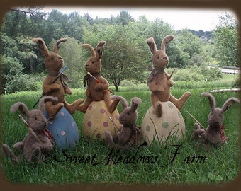 Primitive E-PATTERN Grungy Bunny Rabbits Doll on Giant painted Easter Egg PDF
