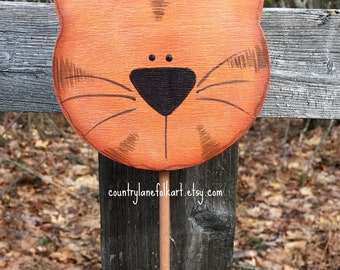 Orange tabby cat, cat plant pokes, plant stick, crazy cat lady gift, mother's day gift, hand painted wooden cat, cat lover gift, gardener
