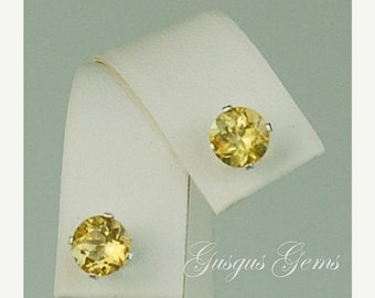MothersDaySale Scapolite Yellow Sterling Silver Studs 6mm 1.45ctw