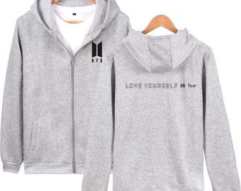 BTS Kpop Love Yourself Zipper Hoodies Sweatshirt Women Men BTS Hip Hop V Jimin Hooded Women Streetwear Women Coat Jacket Fake Love