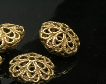 Brass spacer bead 2 pcs raw brass filigree shape 16 x 10 mm pendant finding