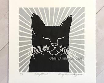 Cat Print, Black Cat Print, Cat Art Print, Black Cat Art Print, Cat Linocut Print, Cat Lino Cut Print, Cat Memorial Art, Cat Memorial Print