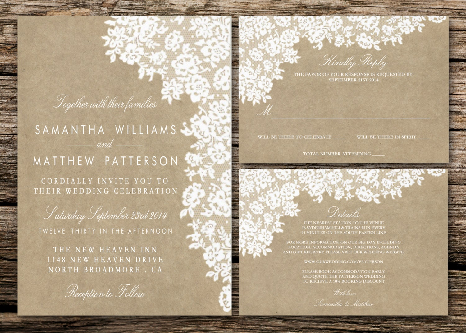 Printable Wedding Invitation Set Invitation RSVP Card