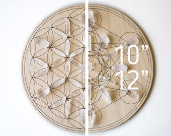 "Medium Crystal Grid 10"" or 12"" - Large & Double Sided - Flower of Life / Metatron's Cube - Birch Wood Altar Board - Sacred Geometry Path"