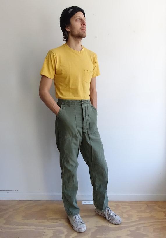 Vintage 60s OG 107 Army Green Utility Trousers/ Vietnam Era/Button Fly/ Sateen Cargo/ Size 27 3Ftzv1xKjG