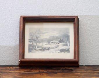 American Winter Scenes Vintage Black and White Framed Print