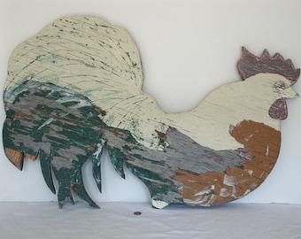 Vintage Folk Art/Hand Painted Wooden Barn Rooster