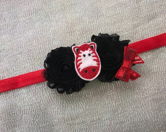 Zebra Headband/Black & Red Headband/Shabby Flower Headband/Infant Headband/Toddler Hair Band/