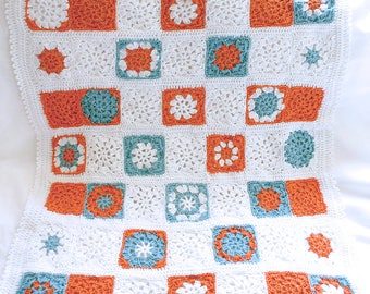 Crochet Baby Blanket- Granny Square Afghan- Orange, Turquoise, White- Boy or Girl GIft- Crocheted Afghan