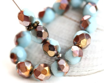 30pc Blue Apollo Luster beads, Special coating, Fire polished 6mm round beads, czech glass spacers, faceted - 1464