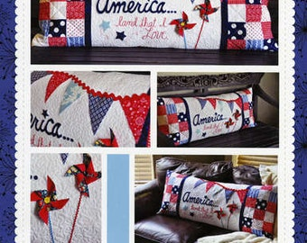 Patriotic Pillow Pattern, America Land That I Love Bench Pillow KD177 Kimberbell, Patriotic Decor Pattern, 4th of July Decor