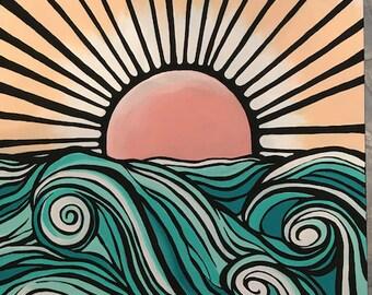 Graphic Ocean Painting