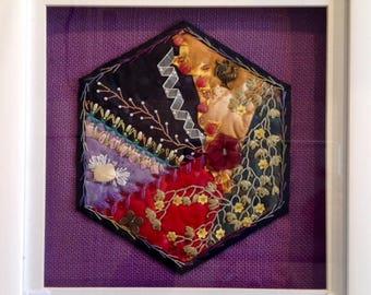 Crazy Patchwork Hexagon - Purple