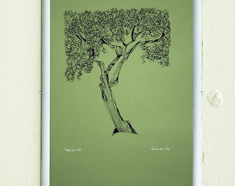 MAKE LIKE A TREE | limited edition screenprint | retro green | line drawing illustration | by Kathryn DiLego