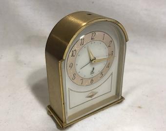 Old brass Made JAZ alarm clock in France Vintage 70s