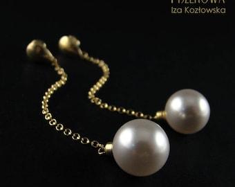 Pearl ball - long earrings with Swarovski pearl