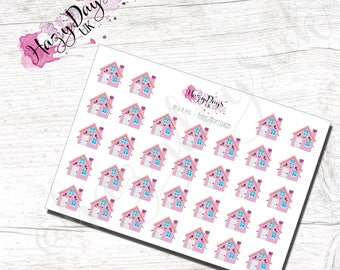 Kawaii Utilities Rent or Mortgage reminder - Cute Houses, Planner Stickers for ECLP, Happy Planner, TN, Personal Planner etc