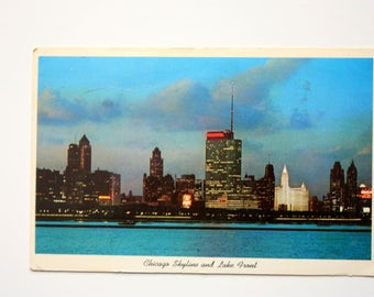 Chicago Skyline Postcard 1961 /Chicago Postcard / Illinois Postcard / Night Postcard
