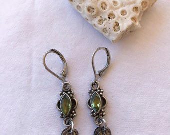 Sterling Silver Peridot and Leaf Earrings